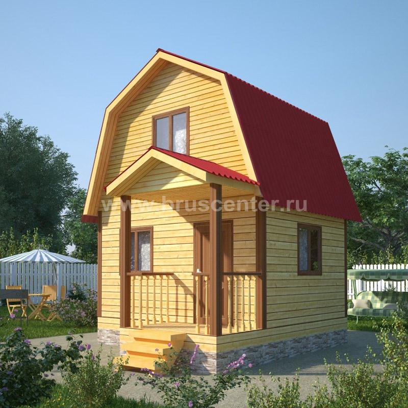 Одноэтажный дом из бруса 5 на 4 с мансардой, проект Уфа БрусЦентр